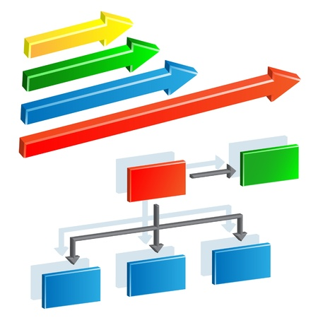 Organization chart and arrows Vector