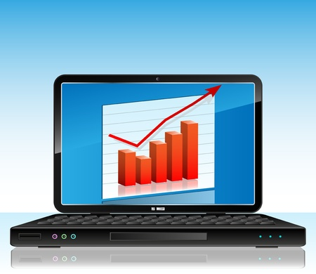 Business Chart on Laptop Illustration