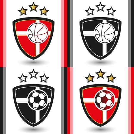 Basketball and Soccer Emblem Vector