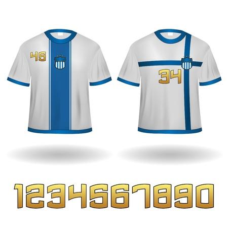 Sport Jerseys Veector Clip-Art with Numbers set