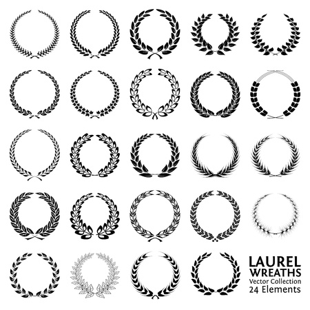 Collection of 24 Laurel Wreaths Vector
