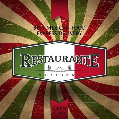 멕시코 레스토랑 및 음식 배달을위한 전단 템플릿 일러스트