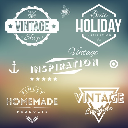 Vector Collection of Vintage Labels on Retro Blured Background