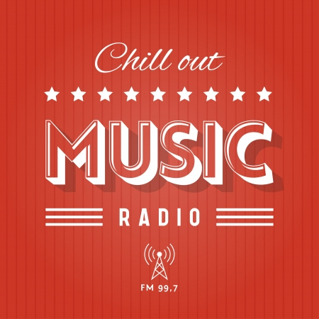 retro radio: Retro Poster for Chill Out Music Radio Illustration