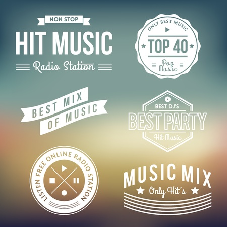 Vector Collection of Vintage Music Labels Vector