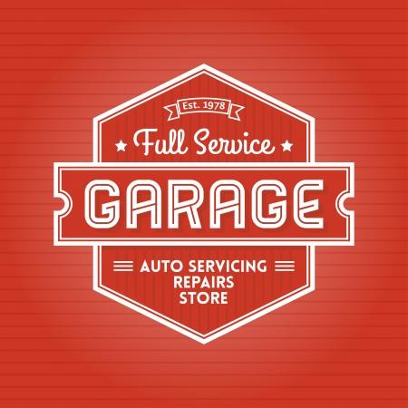 Poster retro o emblema para Garaje Servicio Auto Foto de archivo - 21905456