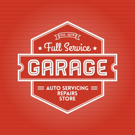 Retro Poster or Emblem for Garage Auto Servicing