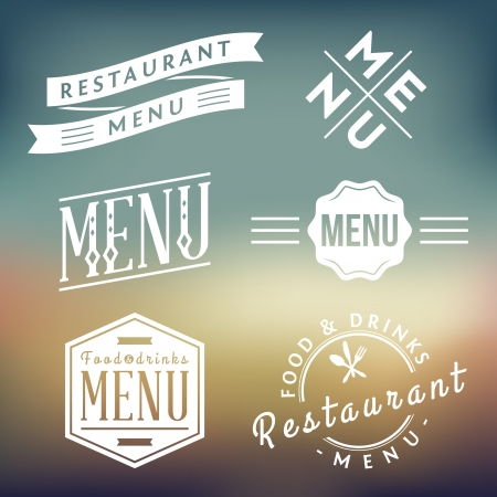 식당 메뉴 레이블의 벡터 컬렉션