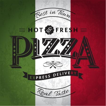 italy flag: Pizza etiqueta o cartel - plantilla de diseño Vectores