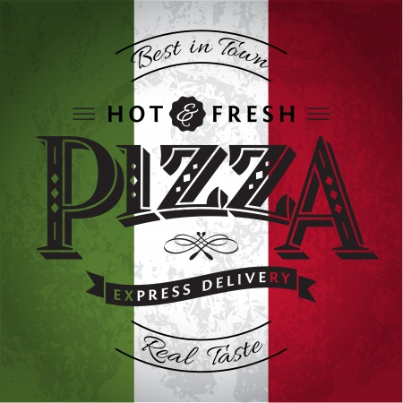 italy flag: Pizza Label or Poster - Design Template Illustration