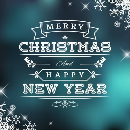 Christmas and New Year Vector Greeting Card and Label Vector