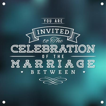 결혼식 초대장 빈티지 타이포그래피 일러스트