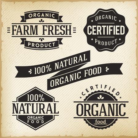 유기농 식품 제품에 대한 빈티지 레이블의 컬렉션