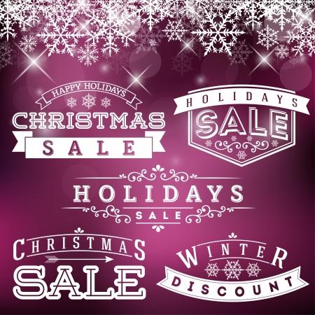 Set of Holidays Sale Labels on Decorative Background Vettoriali