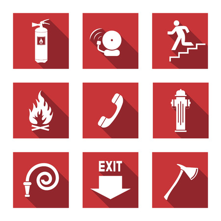 fire extinguisher sign: Fire Warning Signs - Flat Icons with Long Shadows   Illustration