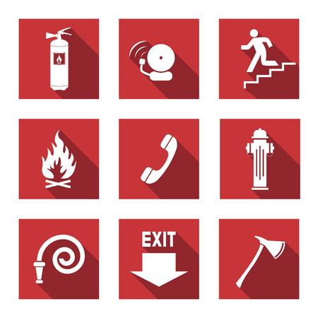 evacuatie: Fire Warning Signs - Flat Pictogrammen met Long Shadows Stock Illustratie