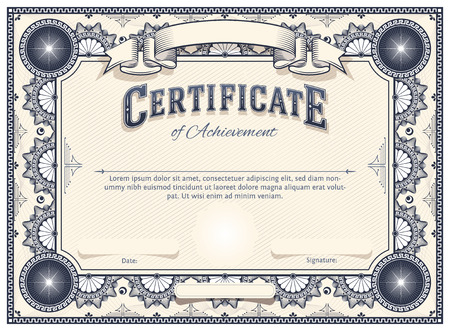 stock certificate: Diploma or Certificate Vector Template with Custom Typography