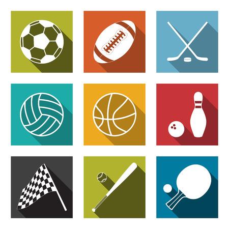 벡터 플랫 스포츠 아이콘 모음