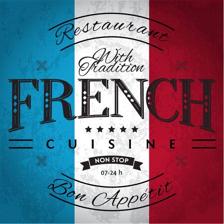 french flag: French Cuisine Label on Grunge Flag Illustration