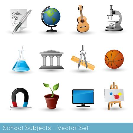 School Subjects Icon Set - Vector Illustration