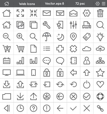 interface icon: Universal Web Interface Icon Set - Flat Line Style