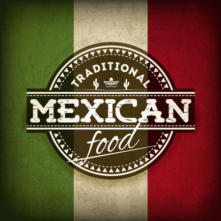 Ilustración de la etiqueta de comida mexicana con la bandera del Grunge
