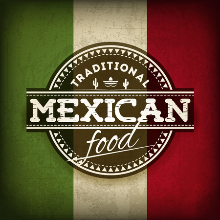 bandera mexicana: Ilustración de la etiqueta de comida mexicana con la bandera del Grunge