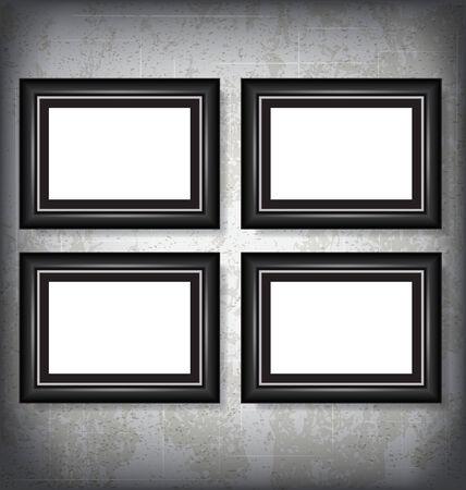 Four Vector Picture Frames Mock Up Illustration