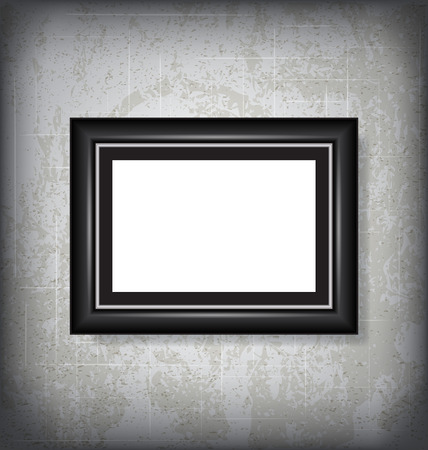 mock up: Vector Picture Frame Hanging on the Wall Mock Up