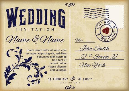 cartoline vittoriane: Retro Invito Wedding Design on vecchia cartolina grunge Vettoriali