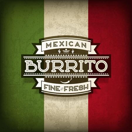 Mexican Burrito Food Label Banco de Imagens - 31063021