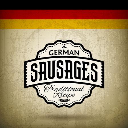 Vintage Label for German Sausages - Bratwurst Vector