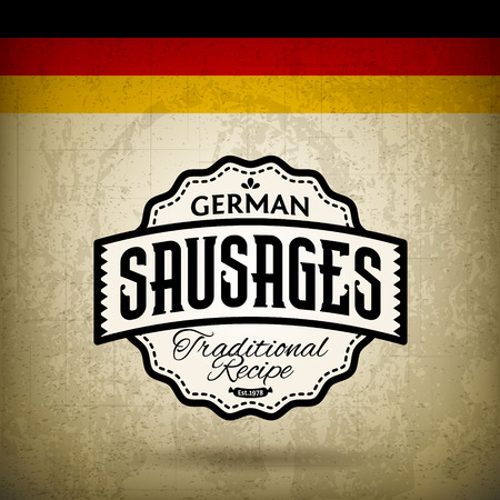 bratwurst: Vintage Label for German Sausages - Bratwurst