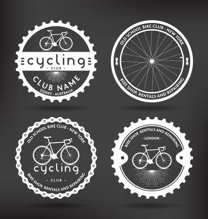 Customizable Retro Cycling Badges Illustration