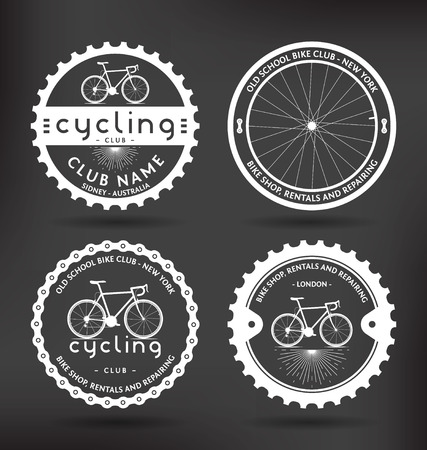 Customizable Retro Cycling Badges Illustration