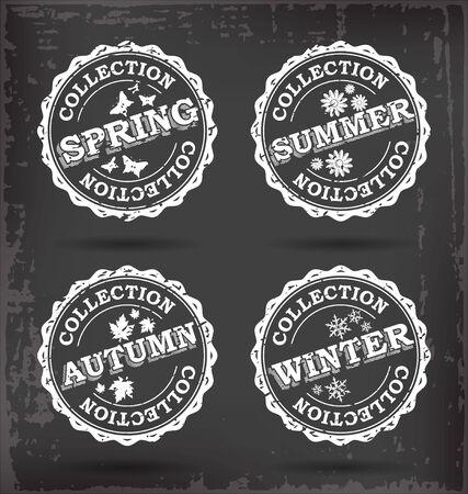 Four Season Vector Stamps Collection.  Vector