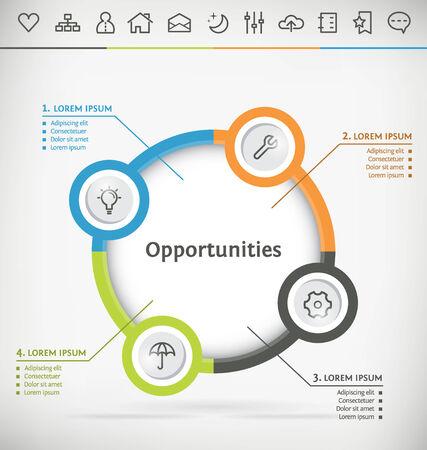 swot: Modello per Infografica con Icon Set Vettoriali