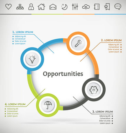 swot: Template for Infographic with Icon Set