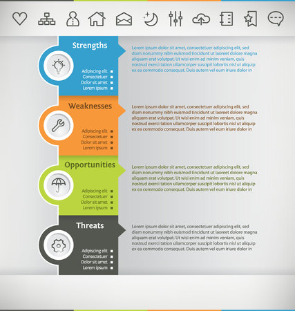 Template for Infographic with Icon Set