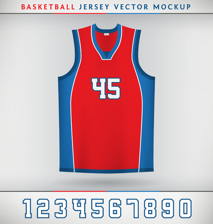 Realistic Vector Mock Up of Basketball Jersey with Numbers Vettoriali