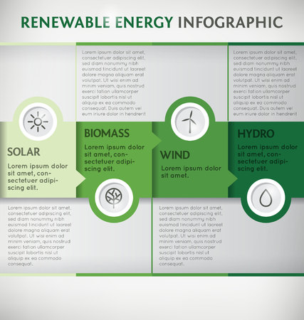 Renewable Energy Vector Infographic Template Vector