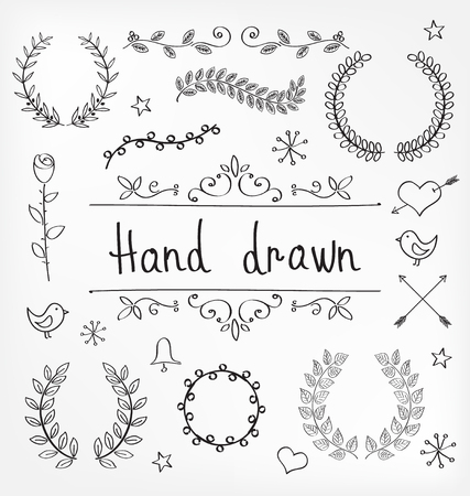 doodle art: Hand Drawn of Laurel Wreaths and Ornament Decorations
