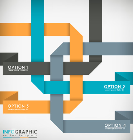 interlaced: Decorative Interlaced Paper Ribbons Vector Infographic Template