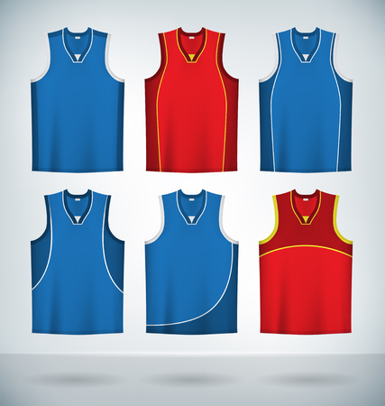 sports uniform: Basketball Jerseys Temlplates Set Mock up