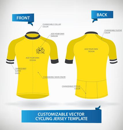 ciclismo: Plantilla adaptable Jersey Ciclismo vectorial Vectores