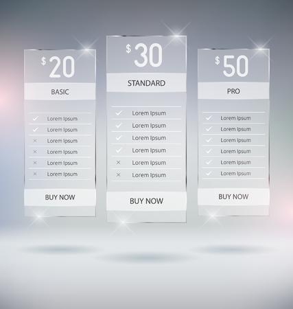 웹 디자인 가격 테이블 템플릿 벡터 모의 최대
