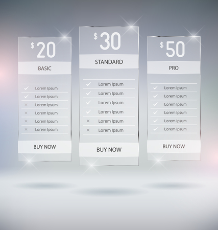 table: Web Design Pricing Tables Template Vector Mock Up