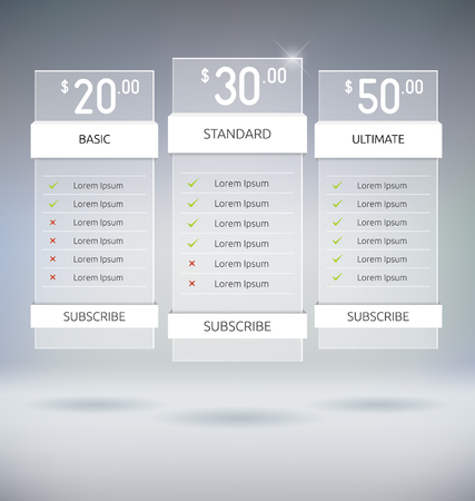 Web Design Pricing Tables Template Vector Mock Up