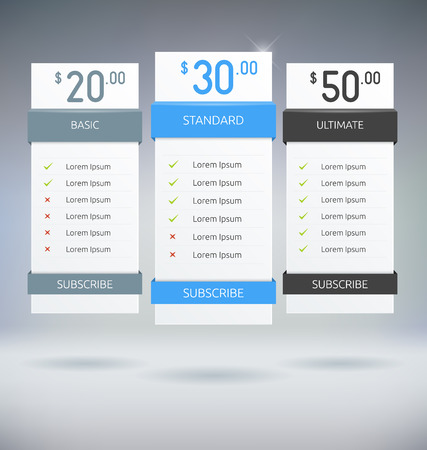 column chart: Web Design Pricing Tables Template Vector Mock Up