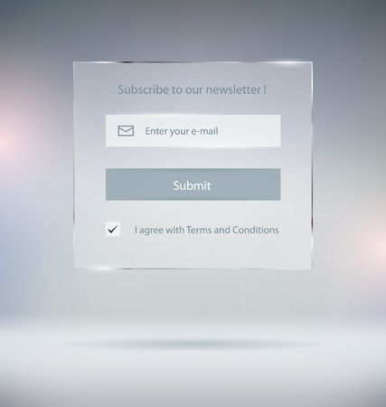 glass button: Transparent Subscribe Form Vector Template Illustration